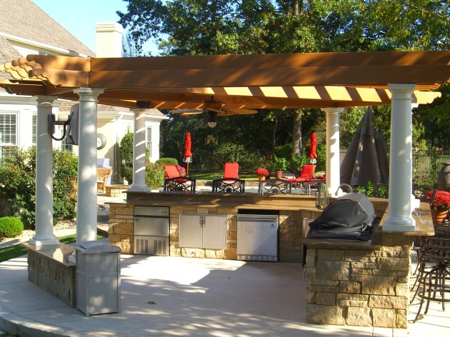 pergola designs outdoor kitchen